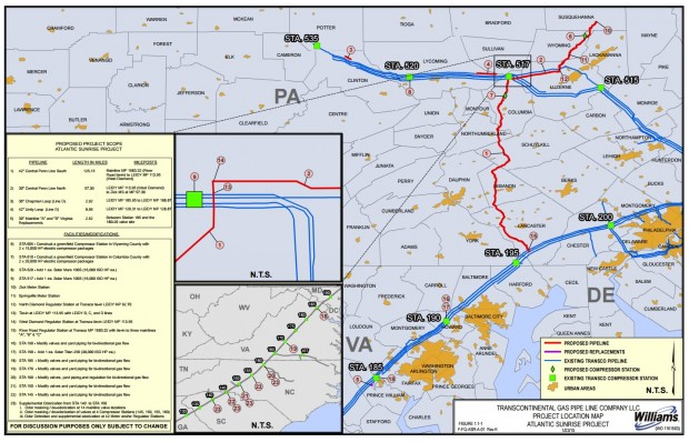 Atlantic Sunrise Natural Gas Pipeline Route